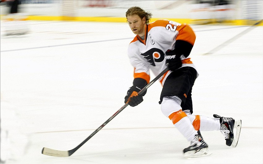 Mar 16 2014 Pittsburgh PA USA Philadelphia Flyers Center Claude Giroux 28 Skates On The Ice Before Playing Penguins At CONSOL